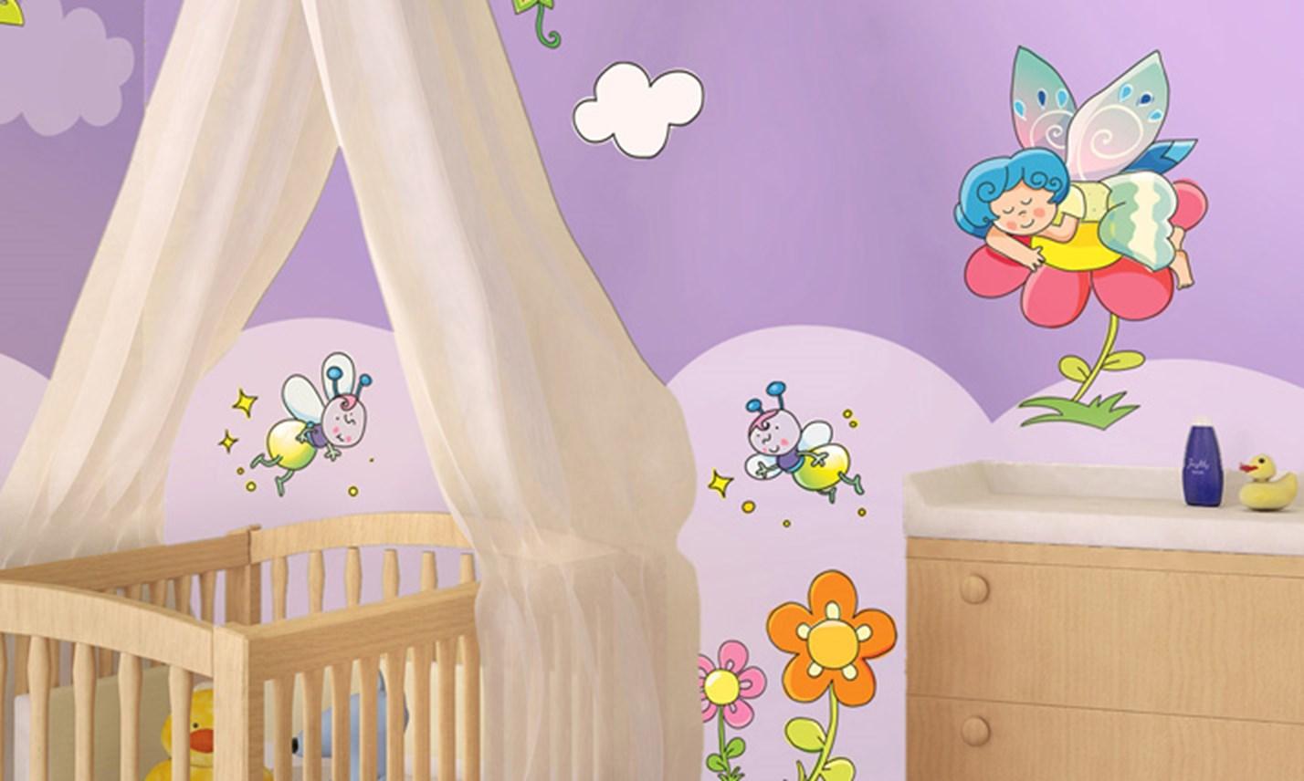 Stickers murali bambini cameretta le fatine dei fiori for Adesivi murali x bambini
